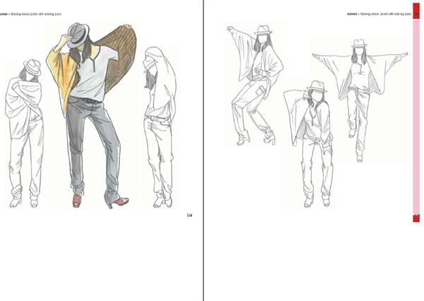 8680 时装模特1000个pose手绘本 时装走秀模特摄影创意设计资料素材