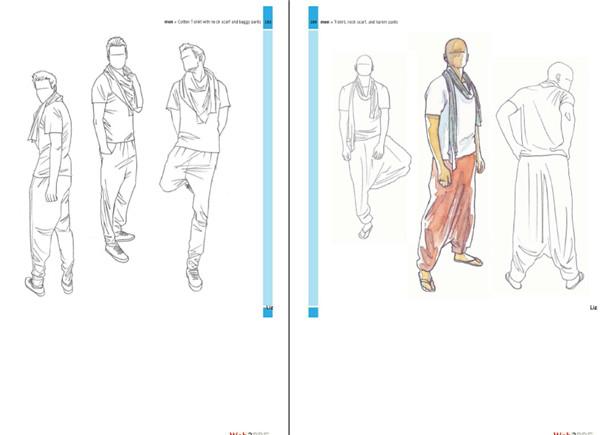 个pose手绘本 时装走秀模特摄影创意设计资料素材